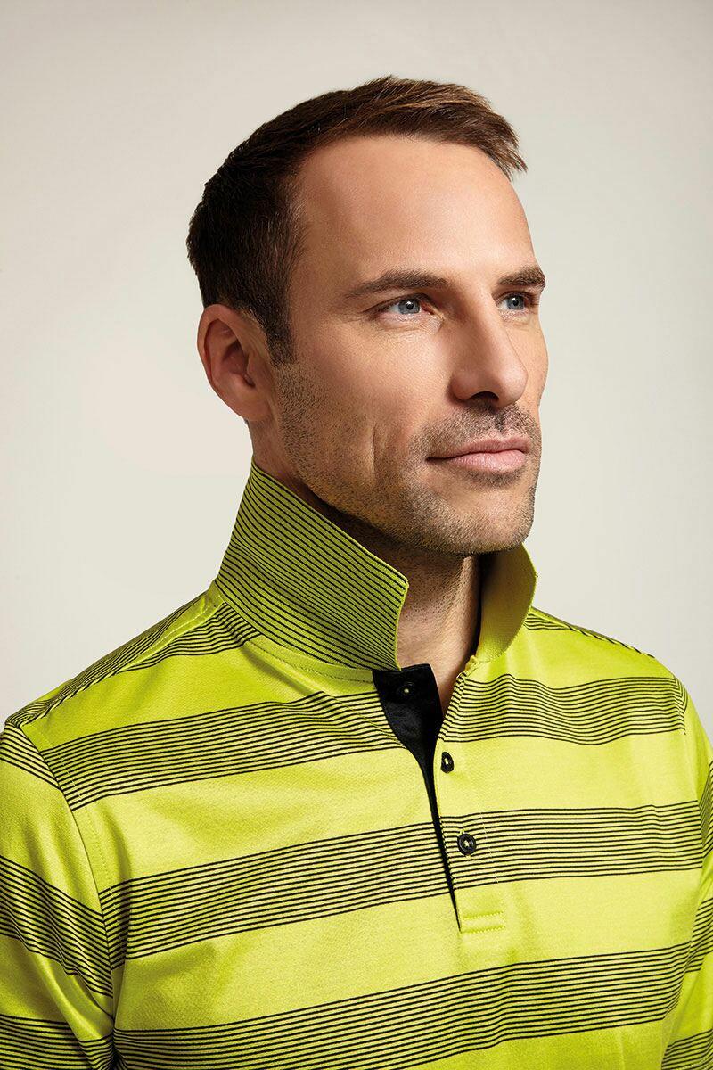 Glenmuir Mens Block Stripe Mercerised Cotton Golf Polo Shirt - Sale