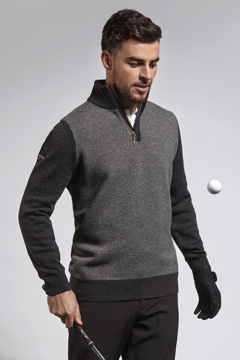 Mens Zip Neck Birdseye Suede Placket Lambswool Blend Sweater