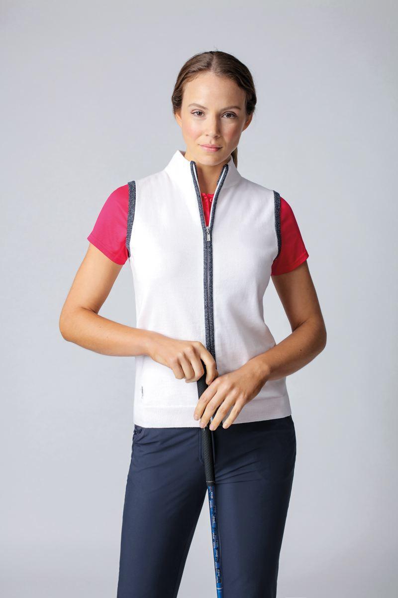 Ladies Zip Through Lurex Back Stripe Cotton Golf Gilet