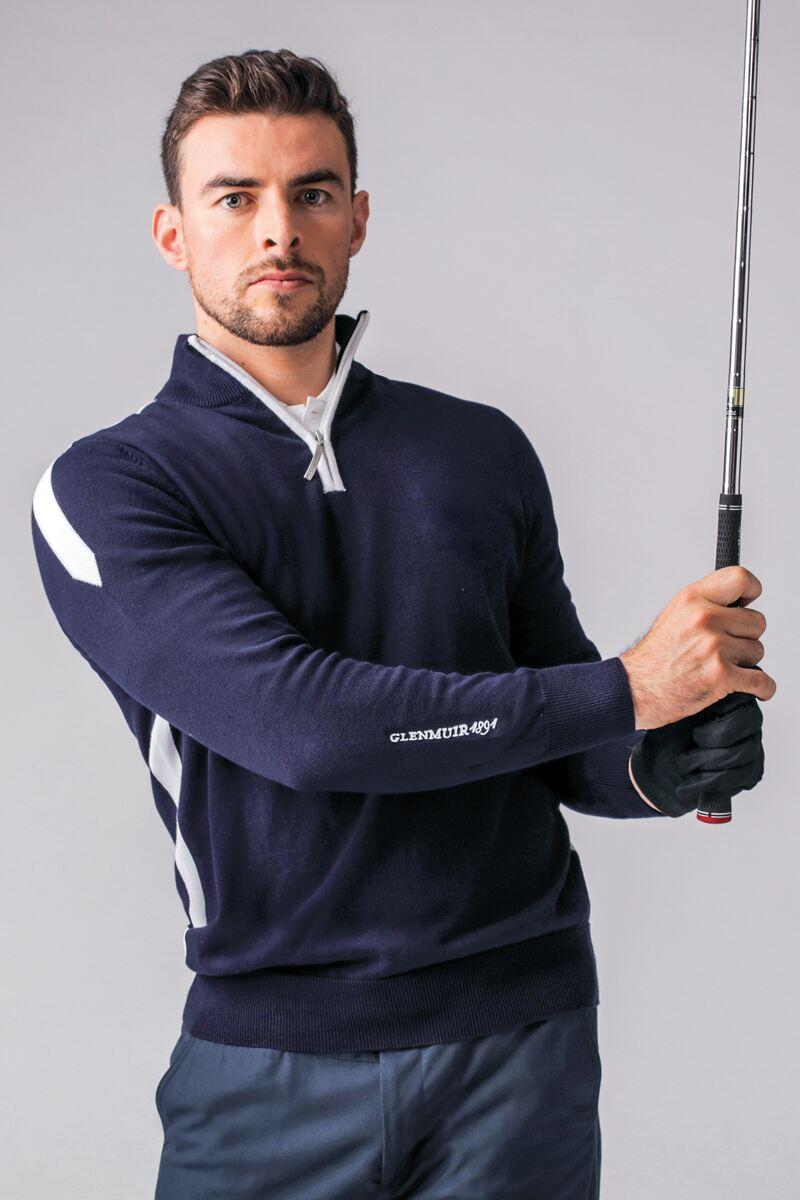 Mens Zip Neck Intarsia Stripe Cotton Golf Sweater