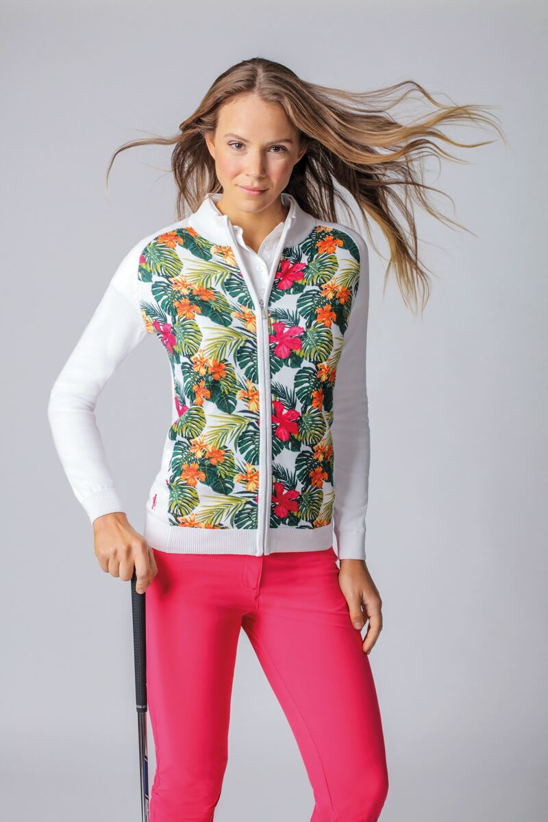 Ladies Zip Through Tropical Floral Printed Cotton Golf Sweater