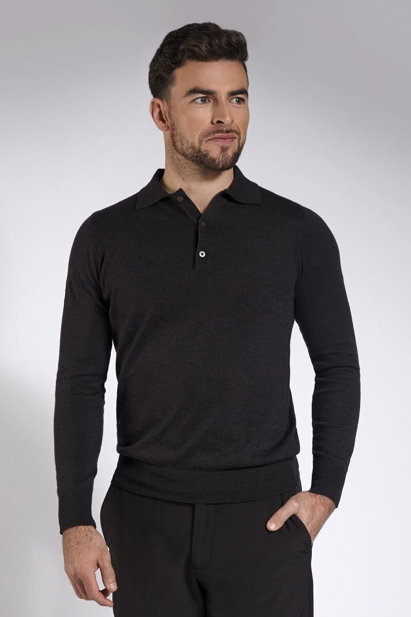 Mens Collared Touch of Cashmere Golf Sweater