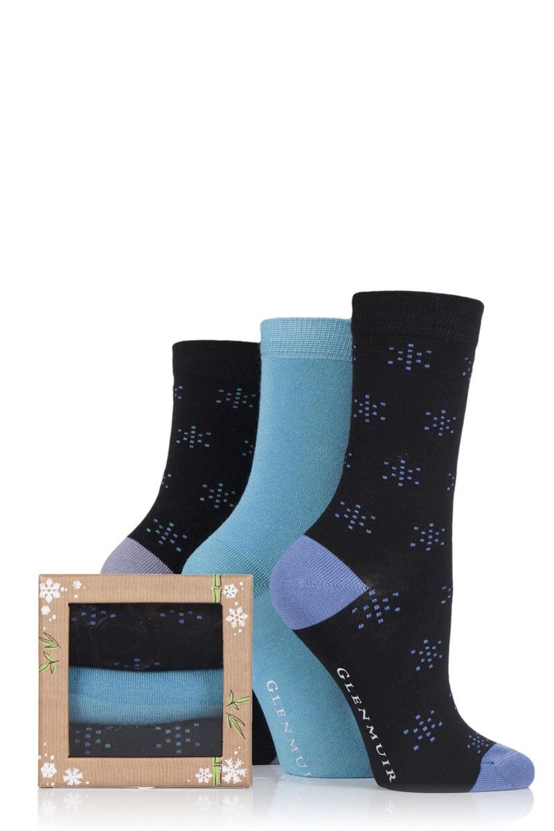 Ladies 3 Pair Glenmuir Gift Boxed Snow Flake Bamboo Socks