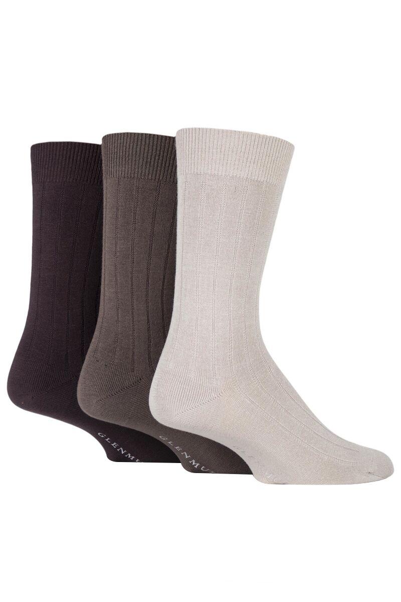Mens 3 Pair Classic Bamboo Ribbed Socks