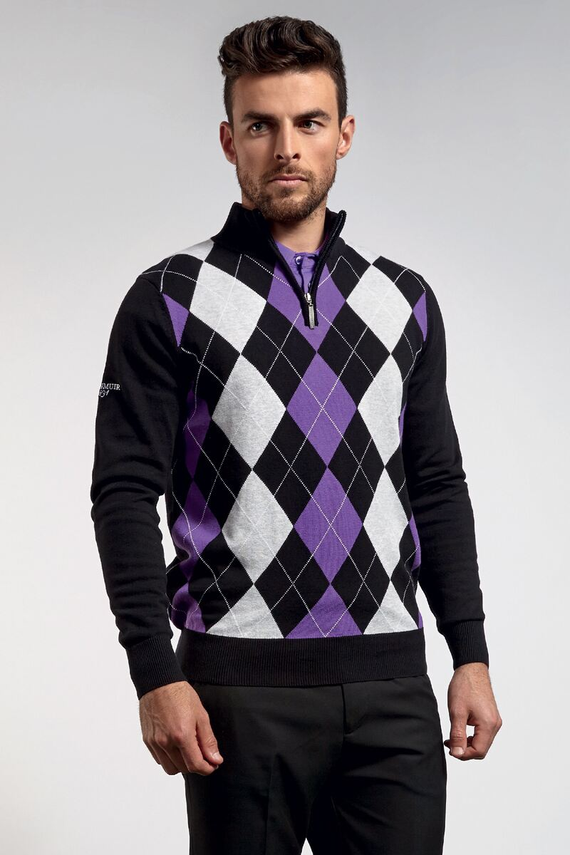 Mens Cotton Zip Neck Diamond Intarsia Sweater - Golf Knitwear SALE