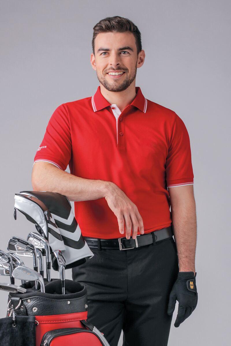 Mens Herringbone Tipped Performance Pique Golf Polo Shirt