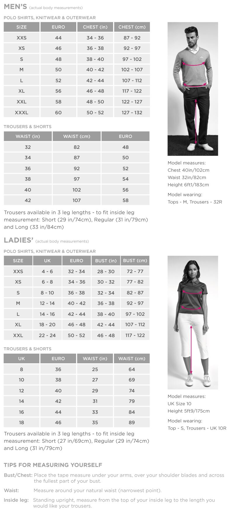 Golf Clothing Size Guide