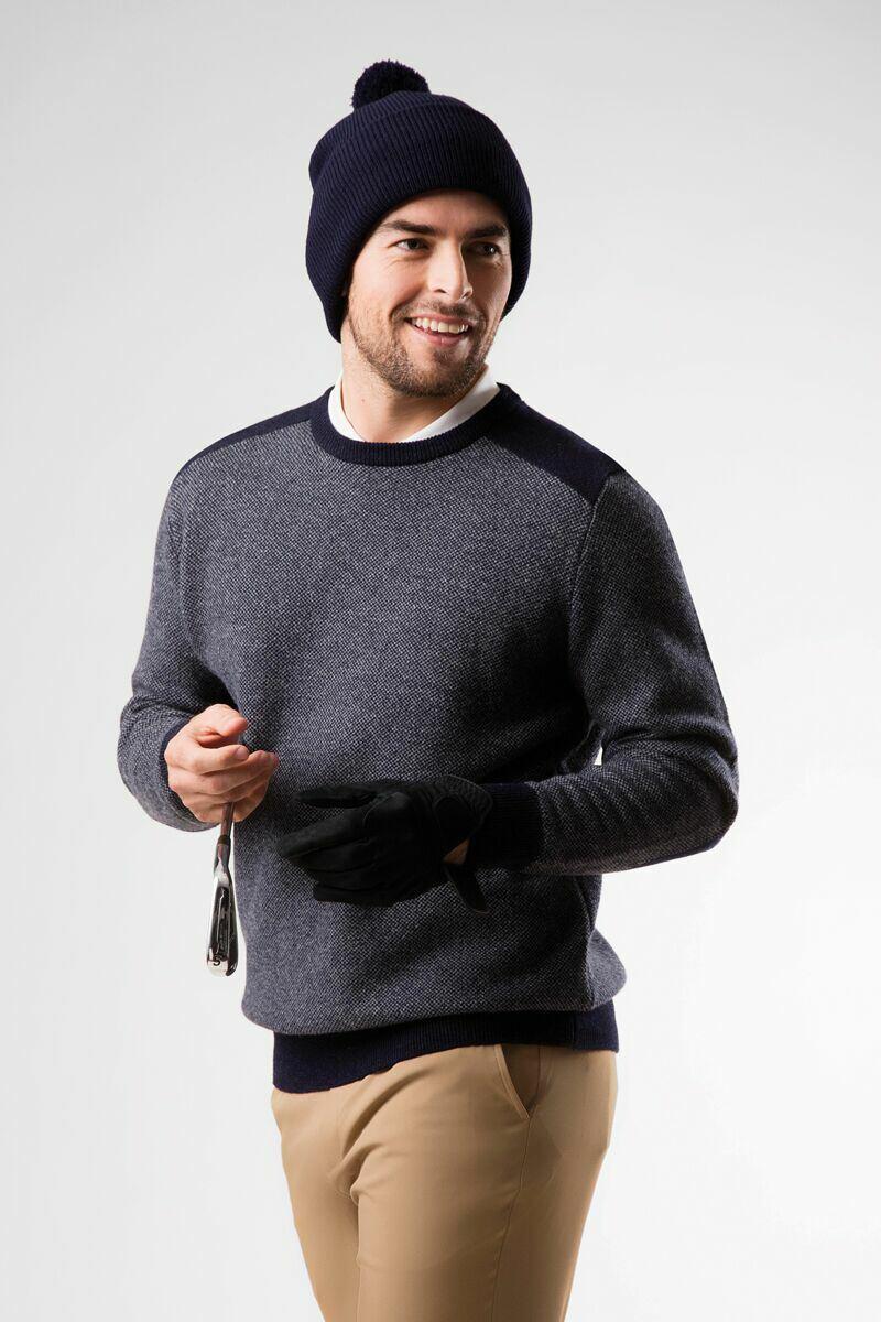 Mens Crew Neck Birdseye Stitch Lambswool Golf Sweater