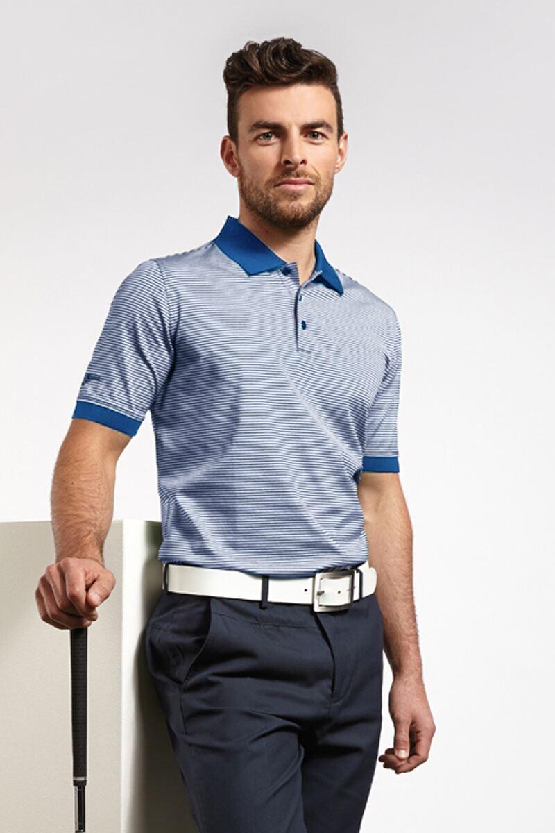Glenmuir Mens Rib Cuff Narrow Stripe Mercerised Cotton Golf Polo Shirt - Sale