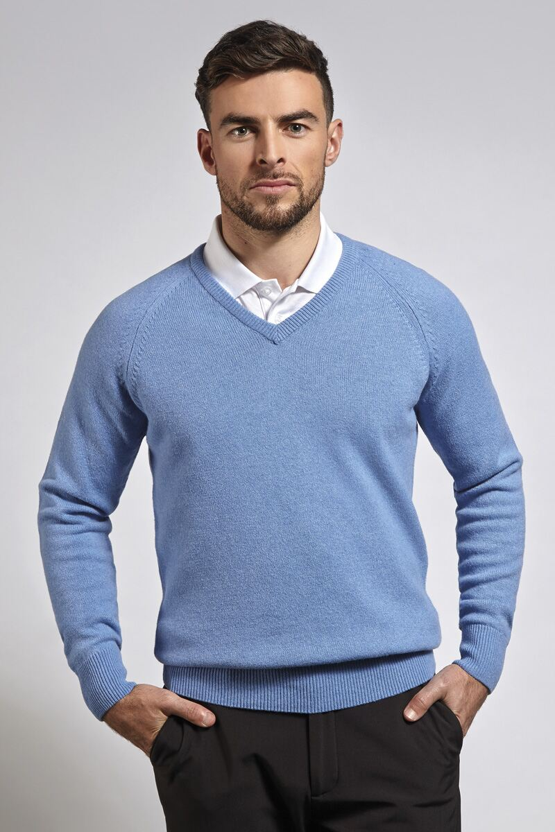 Mens V Neck Raglan Sleeve Lambswool Blend Golf Sweater