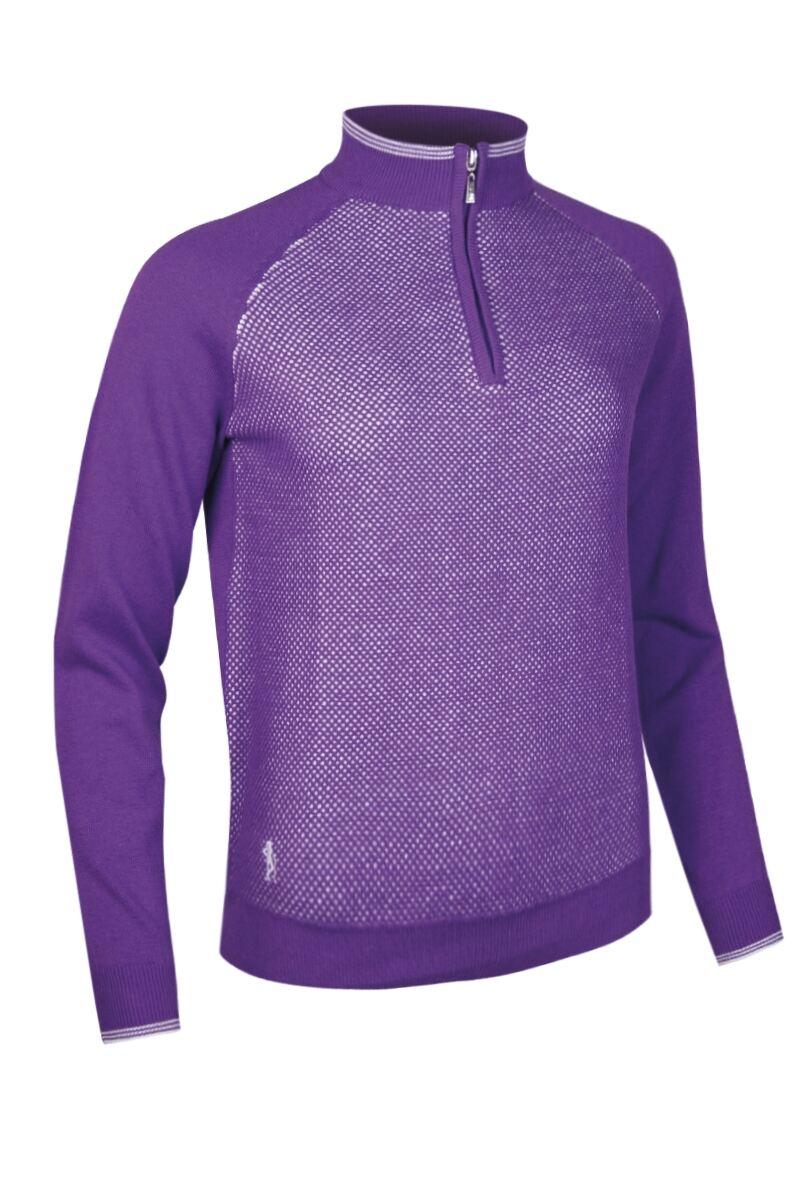 Ladies Mesh Front Zip Neck Golf Sweater SALE