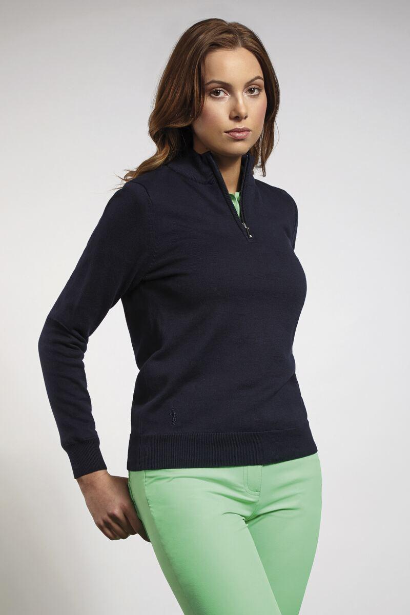 Ladies cotton zip neck plain lined golf sweater golf for Ladies cotton golf shirts