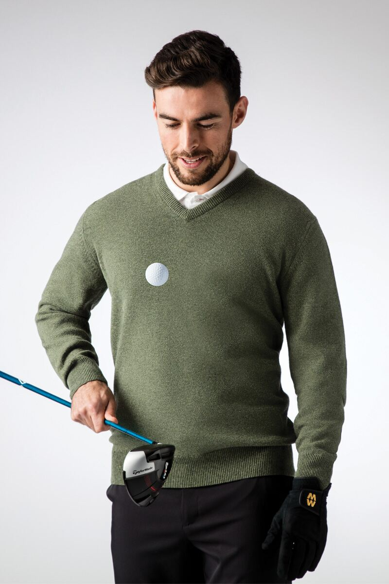 Mens V Neck Lambswool Golf Sweater Product Image 1 aa42a6e86