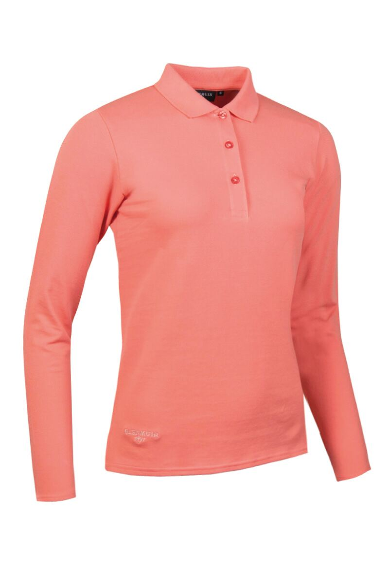 Ladies Glenmuir Long Sleeve Cotton Pique Polo Shirt