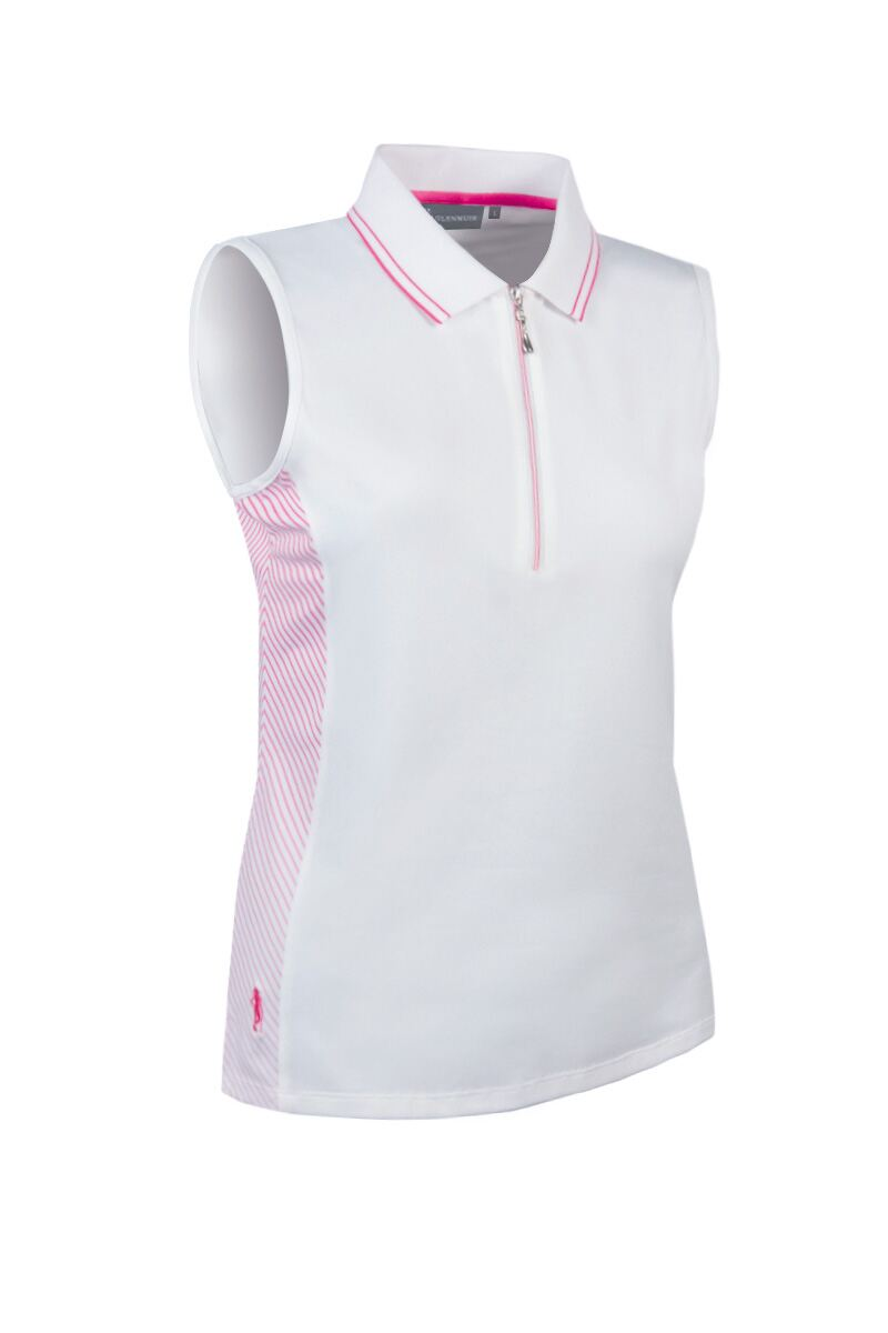 Ladies performance sleeveless polo with ombre stripe for Ladies sleeveless golf polo shirts