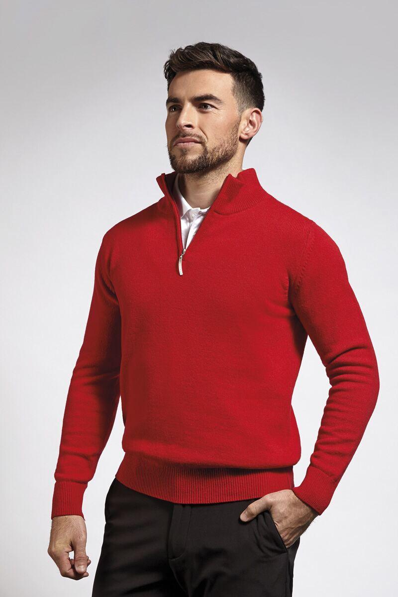 Mens Zip Neck Lambswool Blend Golf Sweater