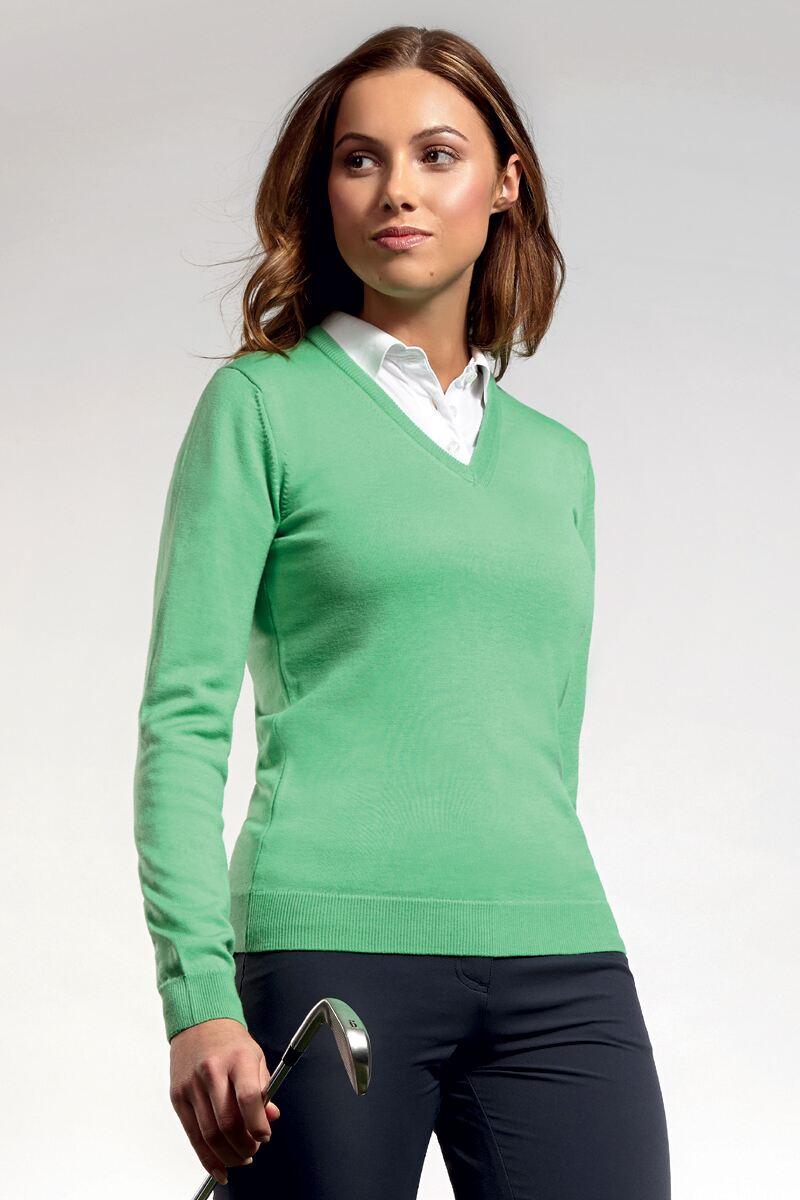 Ladies Glenmuir V Neck Merino Wool Golf Sweater