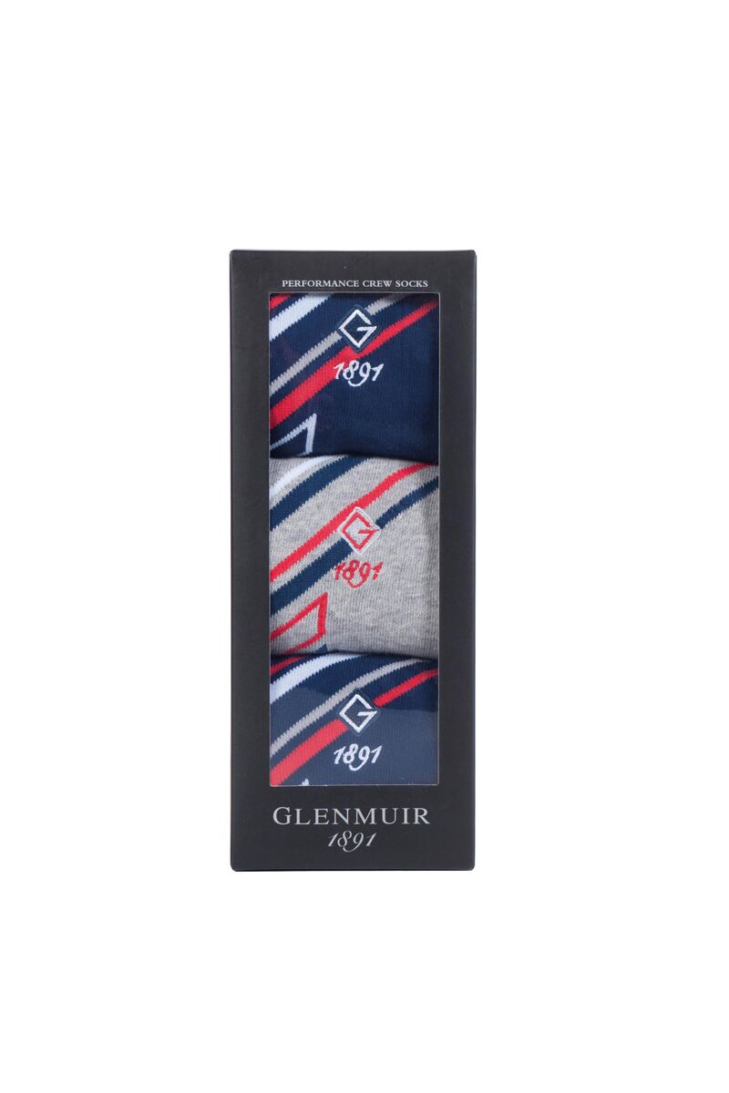 Mens 3 Pair Jacquard Stripe Cotton Golf Socks Gift Box