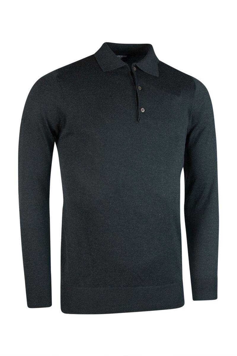 Mens Collared Cotton Cashmere Golf Sweater