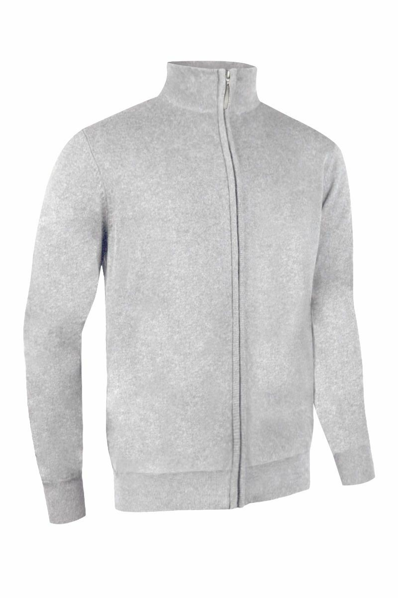 Mens Cotton Zip Front Plain Lined Sweater Jacket - Lined Golf ...