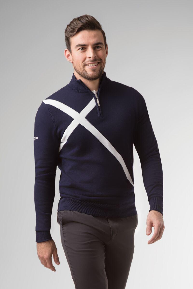 Mens Zip Neck Saltire Cross Cotton Golf Sweater