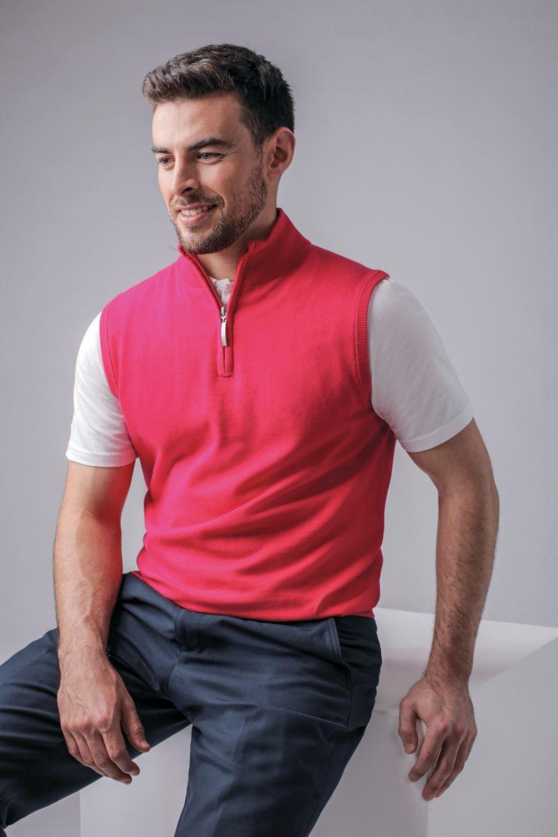 Mens Zip Neck Lightweight Cotton Golf Slipover