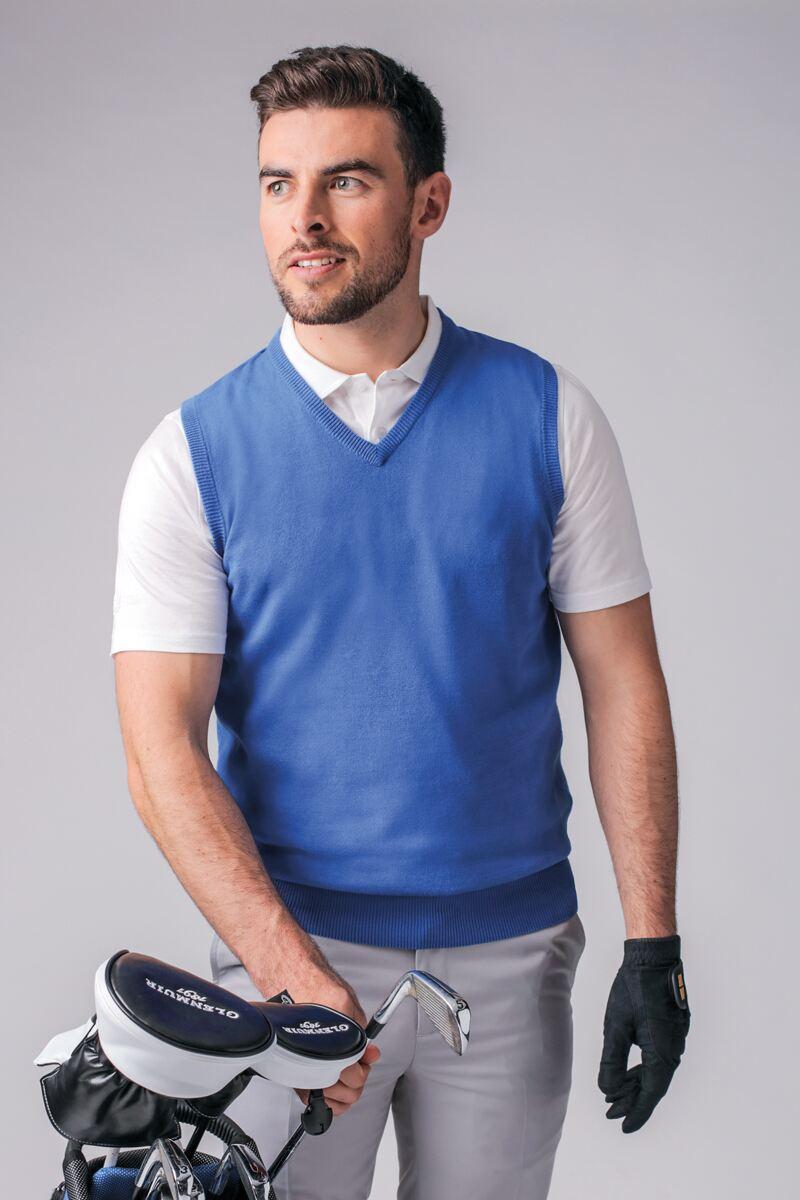 Mens V Neck Cotton Golf Slipover