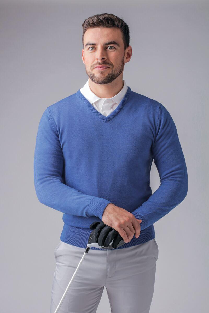 Mens V Neck Merino Wool Golf Sweater